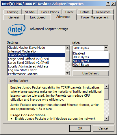 Setting the \'Jumbo Packet\' option to 9000 bytes on an Intel PRO 1000 ...