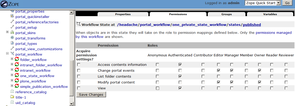 One State (private) Workflow Permissions
