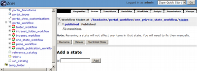 One State WorkFlow With Publish State Only