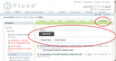 Plone site with 'upload' portal action tab