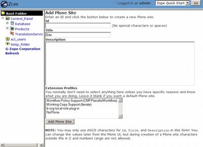 Zope Enter Plone Web Site Details